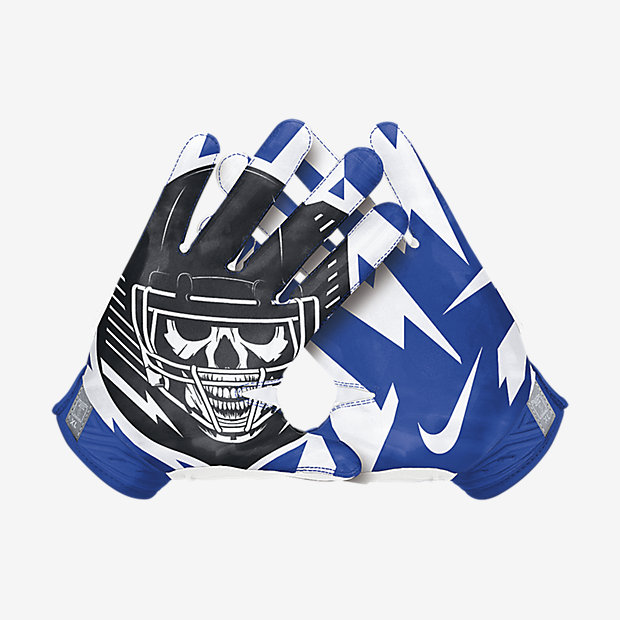 Nike Football Gloves: NIKE SUPERBAD 3.0 RECEIVER FOOTBALL GLOVES BLUE WHITE