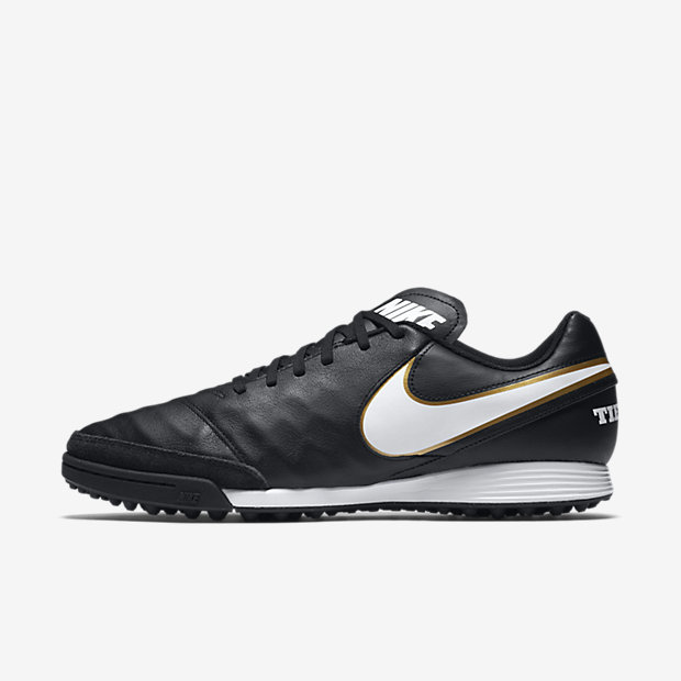 Nike TiempoX Genio II Leather Turf Football Shoe - Black