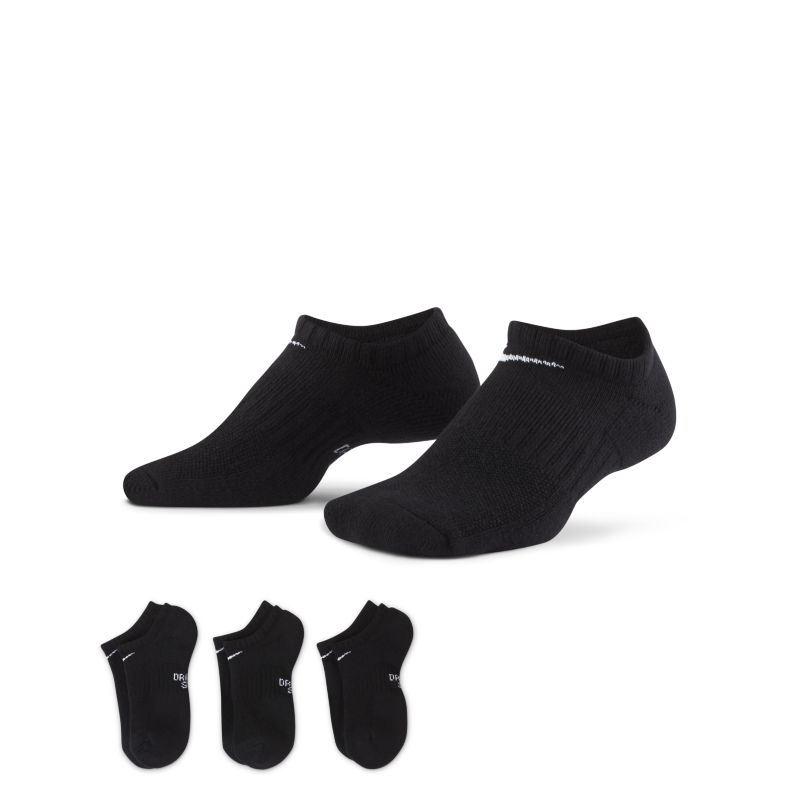 Nike Performance Cushioned No-Show Kids'Training Socks (3 Pairs) - Black