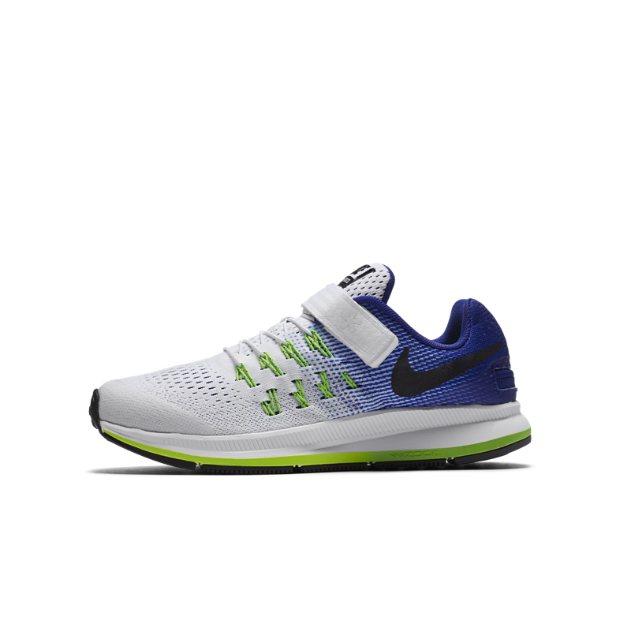 The Nike Air Zoom Pegasus 33 FLYEASE (1y-7y) Little/Big Kids' Running Shoe.