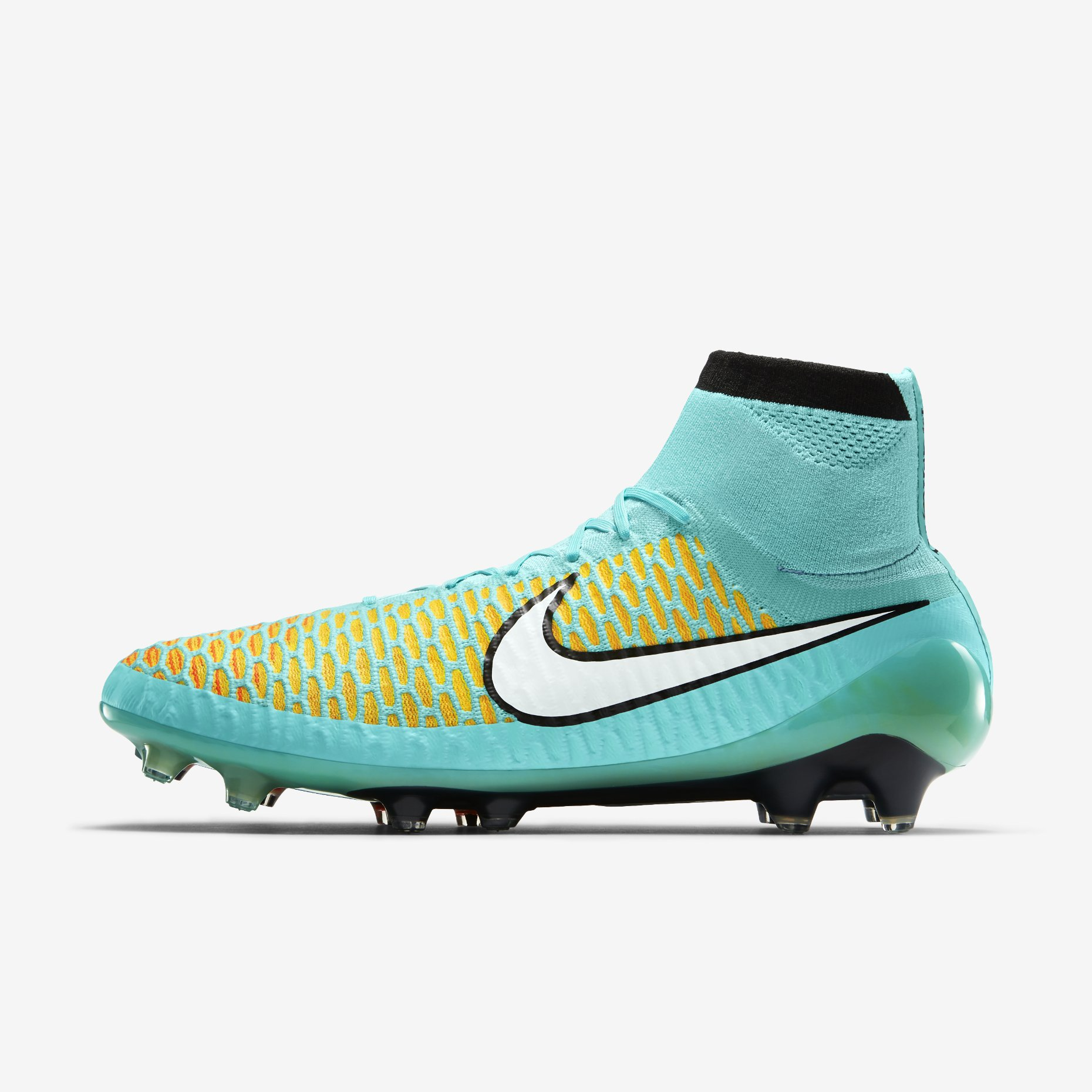 71d2e715a4e4 The new Nike Magista Obra Hyper Turquoise Soccer Cleat is mainly light blue  with the distinctive yellow   red honeycomb pattern on the upper.