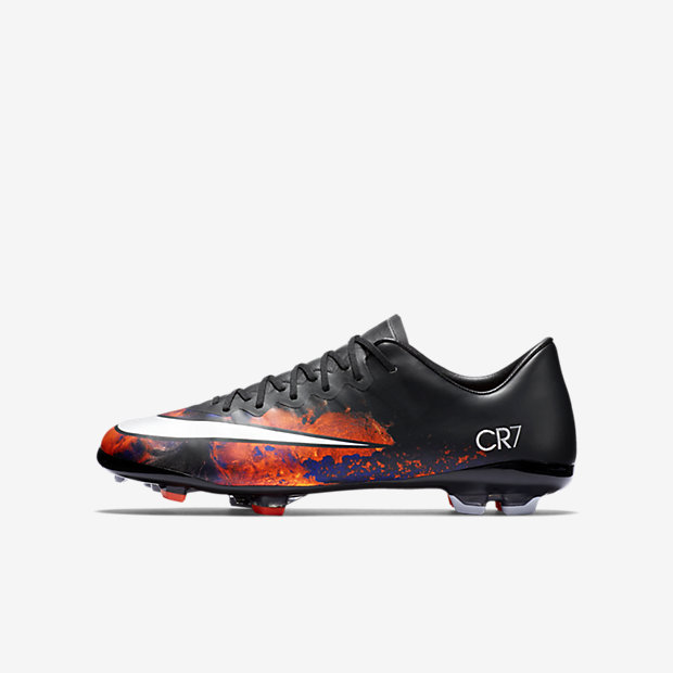Black, Total Crimson, White Kids Mercurial Vapor X FG CR7