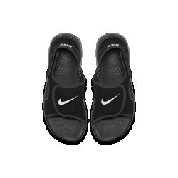 Сандалии для мальчиков Nike Sunray Adjust 4Верх из синтетического материала быстро сохнет, фирменные застежки VELCRO&amp;#174;в области пятки и сверху для удобства переобувания Подошва из материала Phylon с технологией Sensory Motion отвечает за амортизацию без утяжеления и невероятную гибкость Не оставляющая следов резиновая подметка для более эффективного сцепления и долговечности  Преимущества  Быстросохнущий синтетический верх обеспечивает естественную свободу движений Застежки на липучке в области пятки и носка для удобного переодевания Подошва из материала Phylon для легкости, гибкости и амортизации Не оставляющие следов резиновые выступы в зонах максимального износа подметки для прочности и сцепления с поверхностью<br>