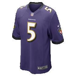 Мужское джерси для американского футбола для игры на своем поле NFL Baltimore Ravens (Joe Flacco)Болей за любимую команду в джерси NFL Baltimore Ravens, созданном под вдохновением от игры ее лучших игроков, и сохраняй абсолютный комфорт.  ПРОДУМАННЫЙ КРОЙ  Продуманный крой джерси обеспечивает полную свободу движений.  АБСОЛЮТНЫЙ КОМФОРТ  Отсутствие этикетки под воротником для дополнительного комфорта.  МЯГКОСТЬ  Номер игрока, выполненный в технике термопечати, приятен на ощупь.  Подробнее   Продуманное расположение зон вентиляции Тканая этикетка слева внизу Эмблема клуба из материала TPU на V-образном вырезе   Состав: 100% переработанный полиэстер Машинная стирка Импорт<br>