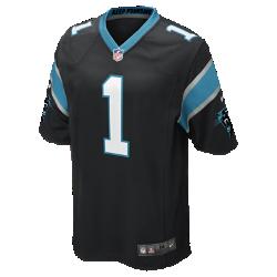Мужское джерси для американского футбола для игры на своем поле NFL Carolina Panthers (Cam Newton)Болей за любимую команду в джерси NFL Carolina Panthers Game Jersey, созданном под вдохновением от игры ее лучших игроков, и сохраняй абсолютный комфорт.  Продуманный крой  Продуманный крой обеспечивает комфортную посадку и позволяет создать современный образ.  Мягкость  Силиконовый принт с номером устойчив к повреждениям и не утяжеляет джерси.  Абсолютный комфорт  Отсутствие этикетки под воротником для дополнительного комфорта.<br>