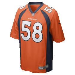 Мужское джерси в расцветке домашней формы NFL Denver Broncos (Von Miller)Болей за любимую команду в джерси NFL Denver Broncos, вдохновленном настоящей игровой формой, и сохраняй абсолютный комфорт.  ПРОДУМАННЫЙ КРОЙ  Продуманный крой джерси обеспечивает полную свободу движений.  МЯГКОСТЬ  Номер игрока, выполненный в технике термопечати, приятен на ощупь.  АБСОЛЮТНЫЙ КОМФОРТ  Отсутствие этикетки под воротником для дополнительного комфорта.  Подробнее   Продуманное расположение зон вентиляции Тканая этикетка слева внизу Эмблема клуба из материала TPU на V-образном вырезе   Состав: 100% переработанный полиэстер Машинная стирка Импорт<br>