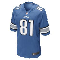 Мужское джерси для американского футбола для игры на своем поле NFL Detroit Lions (Calvin Johnson)Болей за любимую команду в джерси NFL Detroit Lions, созданном под вдохновением от игры ее лучших игроков, и сохраняй абсолютный комфорт.  ОБЛЕГАЮЩИЙ КРОЙ  Облегающий силуэт делает посадку комфортной и создает современный образ.  МЯГКОСТЬ  Силиконовый принт с номером обеспечивает прочность без утяжеления.  КОМФОРТ  Отсутствие этикетки под воротником обеспечивает дополнительный комфорт.  Информация о товаре   Продуманное расположение зон вентиляции Тканая этикетка слева внизу Эмблема клуба из материала TPU на V-образном вырезе   Состав: 100% переработанный полиэстер Машинная стирка Импорт<br>