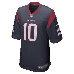 Мужское джерси для американского футбола для игры на своем поле NFL Houston Texans Game Jersey (DeAndre Hopkins)Болей за любимую команду в джерси NFL Houston Texans Game Jersey, созданном под вдохновением от игры ее лучших игроков, и сохраняй абсолютный комфорт.  Облегающий крой  Облегающий силуэт обеспечивает комфортную посадку и создает современный стиль.  Мягкость  Силиконовый принт с номером отвечает за прочность без утяжеления.  Дополнительный комфорт  Отсутствие этикетки под воротником для дополнительного комфорта.<br>