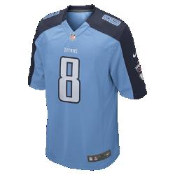 Мужское джерси для американского футбола для игры на своем поле NFL Tennessee Titans (Marcus Mariota)Болей за любимую команду в джерси NFL Tennessee Titans, вдохновленном настоящей игровой формой, и сохраняй абсолютный комфорт.  Продуманный крой  Продуманный крой обеспечивает комфортную посадку и позволяет создать современный образ.  Мягкость  Силиконовый принт с номером устойчив к повреждениям и не утяжеляет джерси.  Абсолютный комфорт  Отсутствие этикетки под воротником для дополнительного комфорта.<br>