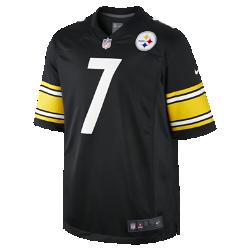 Мужская джерси для американского футбола NFL Pittsburgh Steelers (Ben Roethlisberger) Home Game JerseyЭта джерси отличается облегающим кроем для полной свободы движений. ---- КОМФОРТ  Отсутствие ярлычка в области шеи для дополнительного комфорта. ---- МЯГКОСТЬ  Номер игрока, выполненный в технике термопечати, приятен на ощупь. ---- СОХРАНЯЙ ПРЕДАННОСТЬ ЛЮБИМОЙ КОМАНДЕ. КАЖДЫЙ ДЕНЬ.  Болей за любимую команду в джерси NFL Pittsburgh Steelers Game Jersey, созданной под вдохновением от игры ее лучших игроков, и сохраняй абсолютный комфорт. ---- Дополнительные детали  ---- Продуманное расположение зон вентиляции Тканая этикетка слева внизу Эмблема клуба из термопластичного полиуретана на V-образном вырезе ---- Состав: 100% полиэстер из переработанных материалов Машинная стирка Импорт<br>