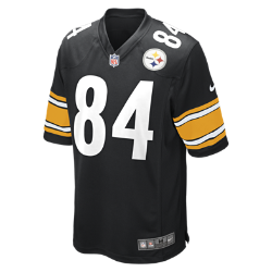 Мужское джерси для американского футбола для игры на своем поле NFL Pittsburgh Steelers (Antonio Brown)Болей за любимую команду в джерси NFL Pittsburgh Steelers, созданном под вдохновением от игры ее лучших игроков, и сохраняй абсолютный комфорт.  ОБЛЕГАЮЩИЙ КРОЙ  Облегающий крой джерси обеспечивает полную свободу движений.  АБСОЛЮТНЫЙ КОМФОРТ  Отсутствие ярлычка в области шеи для дополнительного комфорта.  МЯГКОСТЬ  Номер игрока, выполненный в технике термопечати, приятен на ощупь.  Дополнительные детали   Продуманное расположение зон вентиляции Тканая этикетка слева внизу Эмблема клуба из материала TPU на V-образном вырезе   Состав: 100% переработанный полиэстер Машинная стирка Импорт<br>
