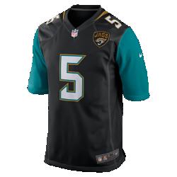 Мужское джерси для американского футбола для игры на своем поле NFL Jacksonville Jaguars (Blake Bortles)Болей за любимую команду в джерси NFL Jacksonville Jaguars, созданном под вдохновением от игры ее лучших игроков, и сохраняй абсолютный комфорт.  Продуманный крой  Продуманный крой обеспечивает комфортную посадку и позволяет создать современный образ.  Мягкость  Силиконовый принт с номером устойчив к повреждениям и не утяжеляет джерси.  Абсолютный комфорт  Отсутствие этикетки под воротником для дополнительного комфорта.<br>