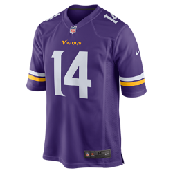 Мужское джерси для американского футбола для игры на своем поле NFL Minnesota Vikings (Stefon Diggs)Болей за любимую команду в джерси NFL Minnesota Vikings, вдохновленном настоящей игровой формой, и сохраняй абсолютный комфорт.  Продуманный крой  Продуманный крой обеспечивает комфортную посадку и позволяет создать современный образ.  Мягкость  Силиконовый принт с номером устойчив к повреждениям и не утяжеляет джерси.  Абсолютный комфорт  Отсутствие этикетки под воротником для дополнительного комфорта.<br>