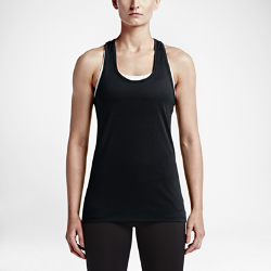 Женская майка для тренинга Nike Dri-FITЖенская майка для тренинга Nike Dri-FIT из влагоотводящей ткани с Т-образной спиной обеспечивает вентиляцию и свободу движений на каждой тренировке.<br>