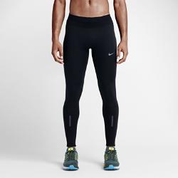 Мужские тайтсы для бега Nike ShieldМужские тайтсы для бега Nike Shield защищают от ветра и дождя благодаря накладкам Nike Shield. Изнанка с начесом сохраняет тепло. Эластичная конструкция обеспечивает полнуюсвободу движений, а светоотражающие элементы делают тебя заметнее во время пробежек ранним утром.<br>