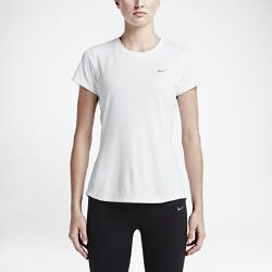 Женская футболка для бега с коротким рукавом Nike Dry MilerЖенская футболка для бега с коротким рукавом Nike Dry Miler обеспечивает комфорт на протяжении всей дистанции благодаря легкой влагоотводящей ткани и плоским швам.<br>