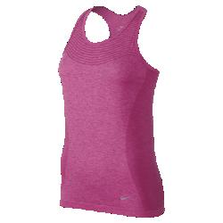 Женский топ для бега Nike Dri-FIT KnitЖенский топ для бега Nike Dri-FIT Knit с легкой бесшовной конструкцией и воздухопроницаемой вязкой поддерживает комфортную температуру тела во время бега.<br>