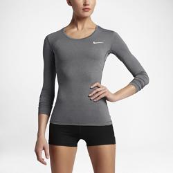 Женская футболка для тренинга с длинным рукавом Nike ProЖенская футболка для тренинга с длинным рукавом Nike Pro из эластичной влагоотводящей ткани с сетчатой вставкой на спине обеспечивает прохладу и комфорт во время тренировок.<br>