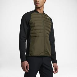 Мужская куртка для гольфа Nike Aeroloft HyperAdaptЛегкая мужская куртка для гольфа Nike Aeroloft HyperAdapt из эластичных материалов с вырезанными лазером вставками с наполнителем и уникальной конструкцией пройм с прорезями обеспечивает вентиляцию, защиту от холода и свободу движений на поле.<br>