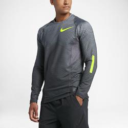 Мужская футболка для тренинга с длинным рукавом Nike Pro HyperWarmМужская футболка для тренинга с длинным рукавом Nike Pro HyperWarm с подкладкой с начесом и вставками из сетки защищает от холода и обеспечивает вентиляцию во время тренировок.<br>