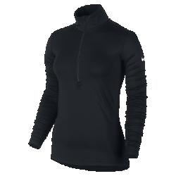Женская футболка Nike Pro WarmЖенская футболка Nike Pro Warm из влагоотводящей ткани с начесом с изнаночной стороны, воротником-стойкой и молнией до середины груди обеспечивает тепло и комфорт.<br>