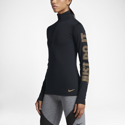 Женская футболка для тренинга с длинным рукавом Nike Pro WarmЖенская футболка для тренинга с длинным рукавом Nike Pro Warm обеспечивает комфорт и защиту от холода во время тренировок на улице благодаря влагоотводящей ткани, подкладке с начесом и вставкам с полосками из сетки на спине.<br>
