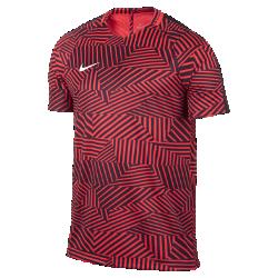 Мужская игровая футболка с коротким рукавом Nike Dry SquadМужская игровая футболка Nike Dry Squad из эластичной влагоотводящей ткани с полосами из рубчатого материала и сетчатой вставкой на спине не стесняет движений и обеспечивает абсолютный комфорт на поле.<br>