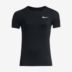 Футболка для тренинга с коротким рукавом для девочек школьного возраста Nike ProФутболка для тренинга с коротким рукавом для девочек школьного возраста Nike Pro из влагоотводящей ткани с сетчатой вставкой на спине обеспечивает комфорт.<br>