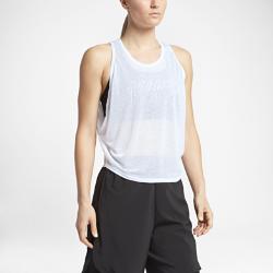 Женская майка для тренинга NikeЖенская майка для тренинга Nike со вшитым бра и легким внешним слоем обеспечивает среднюю поддержку, защиту и воздухопроницаемость во время тренировки.<br>