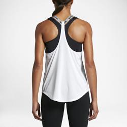 Женская майка для тренинга Nike DryЖенская майка для тренинга Nike Dry из легкой влагоотводящей ткани с Т-образной спиной обеспечивает вентиляцию, комфорт и свободу движений на каждой тренировке.<br>