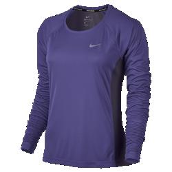 Женская беговая футболка с длинным рукавом Nike MilerЖенская беговая футболка с длинным рукавом Nike Miler из легкой и дышащей влагоотводящей ткани — идеальная модель для пробежек утром и вечером.<br>