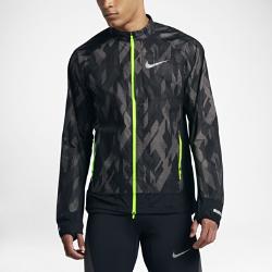Мужская беговая куртка Nike TrailМужская беговая куртка Nike Trail из прочной водоотталкивающей ткани с удобной складной конструкцией обеспечивает комфорт при изменчивой погоде.<br>