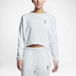 Женская теннисная футболка с длинным рукавом NikeCourtЖенская теннисная футболка с длинным рукавом NikeCourt из влагоотводящей ткани с укороченным силуэтом обеспечивает комфорт и идеально подходит для разминки перед игрой.<br>