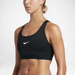 Спортивное бра Nike ClassicСпортивное бра Nike Classic из плотно прилегающей ткани Dri-FIT обеспечивает распределение нагрузки благодаря стабилизирующим бретелям и идеально подходит для тренировоксредней интенсивности.<br>