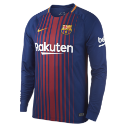 Мужское футбольное джерси с длинным рукавом 2017/18 FC Barcelona Stadium HomeМужское футбольное джерси с длинным рукавом 2017/18 FC Barcelona Stadium Home из дышащей влагоотводящей ткани обеспечивает охлаждение и комфорт.<br>