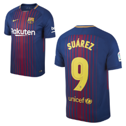 Мужское футбольное джерси 2017/18 FC Barcelona Stadium Home (Luis Suarez)Мужское футбольное джерси 2017/18 FC Barcelona Home из легкой влагоотводящей ткани обеспечивает охлаждение и комфорт.<br>