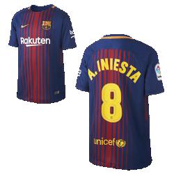 Футбольное джерси для школьников 2017/18 FC Barcelona Home (Andres Iniesta)Футбольное джерси для школьников 2017/18 FC Barcelona Stadium Home из легкой влагоотводящей ткани обеспечивает охлаждение и комфорт.<br>