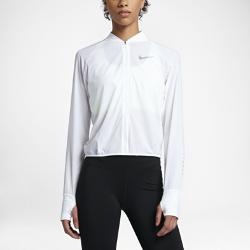 Женская беговая куртка Nike City BomberЖенская беговая куртка Nike City Bomber из перфорированной ткани с облегающим кроем обеспечивает невесомую воздухопроницаемость.<br>