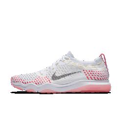 Женские кроссовки для тренинга Nike Zoom Fearless FlyknitЖенские кроссовки для тренинга Nike Zoom Fearless Flyknit обеспечивают гибкость, стабилизацию, мгновенную амортизацию и надежное сцепление для любых тренировок — от пробежекдо высокоинтенсивных упражнений.  Гибкость и стабилизация  Сверхлегкие и эластичные нити Flywire интегрированы со шнурками для поддержки и стабилизации в средней части стопы во время движений в стороны.  Мгновенная амортизация  Легкая вставка Nike Zoom Air создает мгновенную низкопрофильную амортизацию, а пеноматериал Cushlon по всей длине обеспечивает мягкость и поддержку.  Надежное сцепление  Подметка из прочной резины с шестиугольным рисунком и близко расположенными вставками в области носка обеспечивает превосходное сцепление с поверхностью во время таких упражнений, как планка, бурпи и толкание гимнастических салазок.<br>