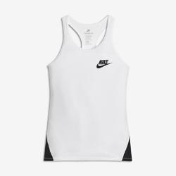 Майка для девочек школьного возраста Nike SportswearМайка для девочек школьного возраста Nike Sportswear со вставкой из сетки и Т-образной спиной обеспечивает вентиляцию, комфорт и свободу движений.<br>