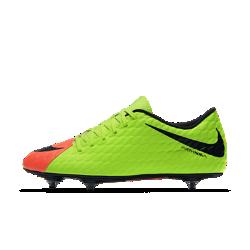 Футбольные бутсы для игры на мягком грунте Nike Hypervenom Phade 3Футбольные бутсы для игры на мягком грунте Nike Hypervenom Phade 3 создают превосходное сцепление с поверхностью на влажных и скользких полях благодаря продуманному расположению шипов, а верх из мягкой синтетической кожи улучшает контроль мяча во время игры.<br>