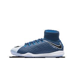 Футбольные бутсы для игры в зале/на поле для дошкольников/школьников Nike Jr. HypervenomX Proximo II Dynamic FitФутбольные бутсы для игры в зале/на поле для дошкольников/школьников Nike Jr. HypervenomX Proximo II Dynamic Fit с верхом из материала Flyknit и амортизацией Nike Zoom Air обеспечивают превосходный контроль и комфорт во время игры.<br>