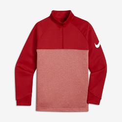 Футболка для гольфа для мальчиков школьного возраста Nike ThermaФутболка для гольфа для мальчиков школьного возраста Nike Therma из термоткани с молнией до середины груди обеспечивает тепло и оптимальную защиту во время игры.<br>
