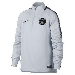 Игровая футболка для школьников Paris Saint-Germain Dry Squad DrillИгровая футболка для школьников Paris Saint-Germain Dry Squad Drill из эластичной влагоотводящей ткани с рукавами покроя реглан обеспечивает комфорт и свободу движений на поле.<br>
