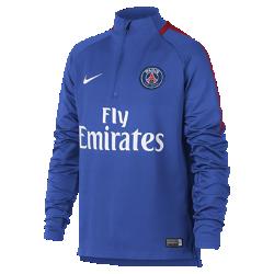 Игровая футболка для школьников Paris Saint-Germain Dri-FIT Squad DrillИгровая футболка для школьников Paris Saint-Germain Dri-FIT Squad Drill из эластичной влагоотводящей ткани с рукавами покроя реглан обеспечивает комфорт и свободу движений на поле.<br>
