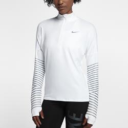 Женская беговая футболка с длинным рукавом Nike Element FlashЖенская беговая футболка с длинным рукавом Nike Element Flash идеально подходит для утренних и вечерних пробежек, сохраняя тепло и препятствуя перегреву. Усовершенствованный свободный крой позволяет надевать модель поверх майки. Светоотражающая графика на рукавах делает тебя заметнее.  Охлаждение  Ткань с более открытым плетением в верхней части спины обеспечивает вентиляцию и не прилипает к телу. Молния до середины груди позволяет регулировать уровень вентиляции, обеспечивая защиту на пробежке и после нее.  Комфорт  Отверстия для больших пальцев фиксируют рукава для дополнительной защиты в холодную погоду.  Отведение влаги  Мягкая ткань с технологией Dri-FIT отводит влагу от кожи на поверхность ткани, где она быстро испаряется.<br>