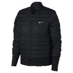 Женская беговая куртка Nike AeroLoftЖенская беговая куртка Nike AeroLoft с силуэтом в стиле классической куртки-бомбера сохраняет тепло во время пробежек и создает современный образ на каждый день. Курткуможно надевать поверх легкой худи или любимой футболки — она обеспечивает тепло, не допуская перегрева.  Защита от холода и превосходная вентиляция  Вставки с пуховым наполнителем плотностью 800FP. Наполнитель с прочным водоотталкивающим покрытием DWR не сбивается в комки. Перфорация между отсеками с наполнителеми на спине пропускает воздух и отводит излишки тепла, обеспечивая эффективную терморегуляцию.  Абсолютный комфорт  Удлиненные манжеты с отверстиями для больших пальцев фиксируют рукава во время бега и обеспечивают удобную надежную посадку.  Отведение влаги  Технология Dri-FIT обеспечивает прохладу и комфорт, выводя влагу на поверхность ткани, где она быстро испаряется.<br>