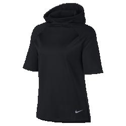 Женская беговая худи с коротким рукавом Nike ThermaЖенская беговая худи с коротким рукавом Nike Therma из влагоотводящей ткани с рукавами покроя реглан обеспечивает комфорт и свободу движений во время пробежки. Свободный крой позволяет надевать футболку на прилегающую майку.<br>