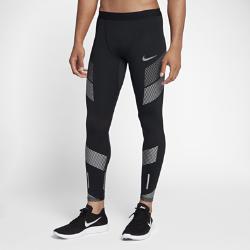 Мужские беговые тайтсы с графикой Nike TechМужские беговые тайтсы с графикой Nike Tech из поддерживающей ткани со вставками из сетки обеспечивают комфорт на любой дистанции.<br>