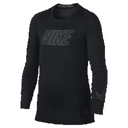 Футболка для тренинга с длинным рукавом для мальчиков школьного возраста Nike ProФутболка для тренинга с длинным рукавом для мальчиков школьного возраста Nike Pro из эластичной влагоотводящей ткани со вставками из сетки обеспечивает комфорт и охлаждение. Ее можно носить в качестве самостоятельного элемента на тренировках или базового слоя во время игры.<br>